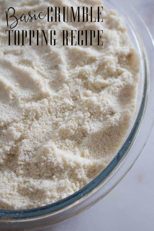 A simple recipe for a basic crumble topping perfect for an easy family dessert. Only 3 ingredients and quick to make. It can be frozen and used at a later date.