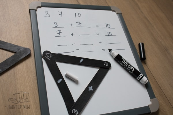 DIY teaching resource to help students with understanding maths fact families and the inverse relationship between addition and subtraction, and multiplication and division. Simple to make and useful for individual work and whole class teaching.