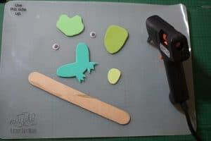 hot glue gun the craft foam puppets together