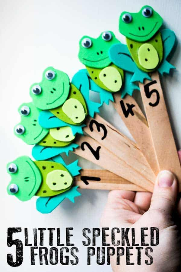 DIY Five Little Speckled Frogs Puppets for Rhyme Time