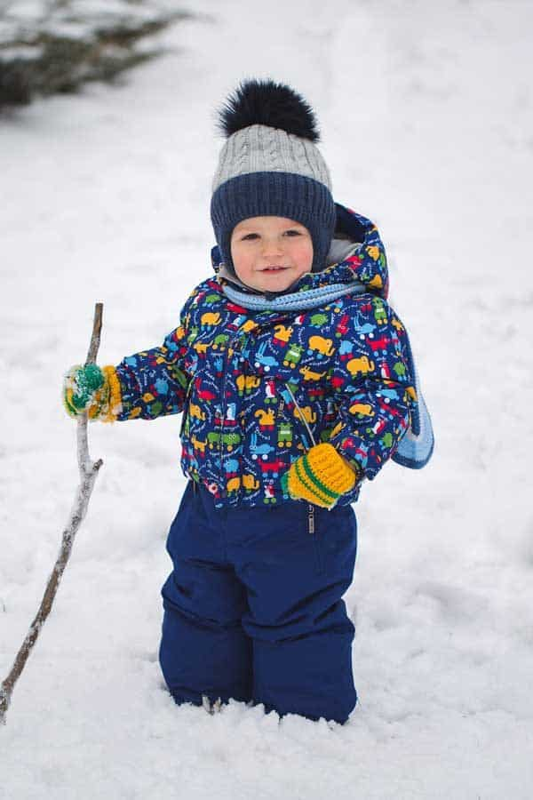 toddler outside in the winter