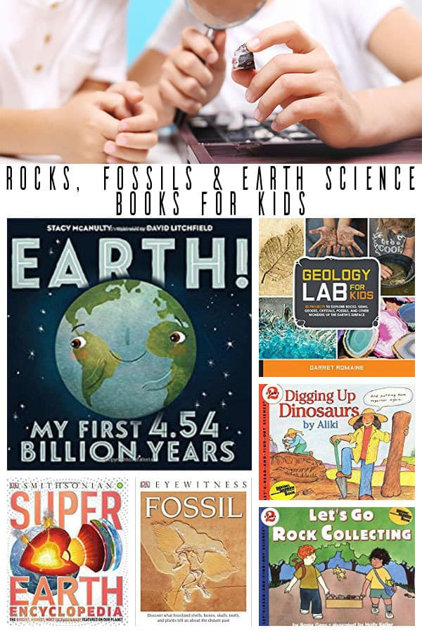 earth science, rocks and fossil books for kids collage
