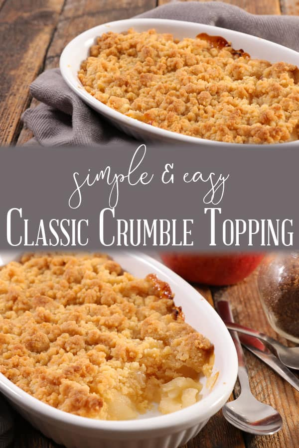 Classic recipe for Crumble Topping with unsalted butter, flour and white sugar ideal for desserts and cakes.