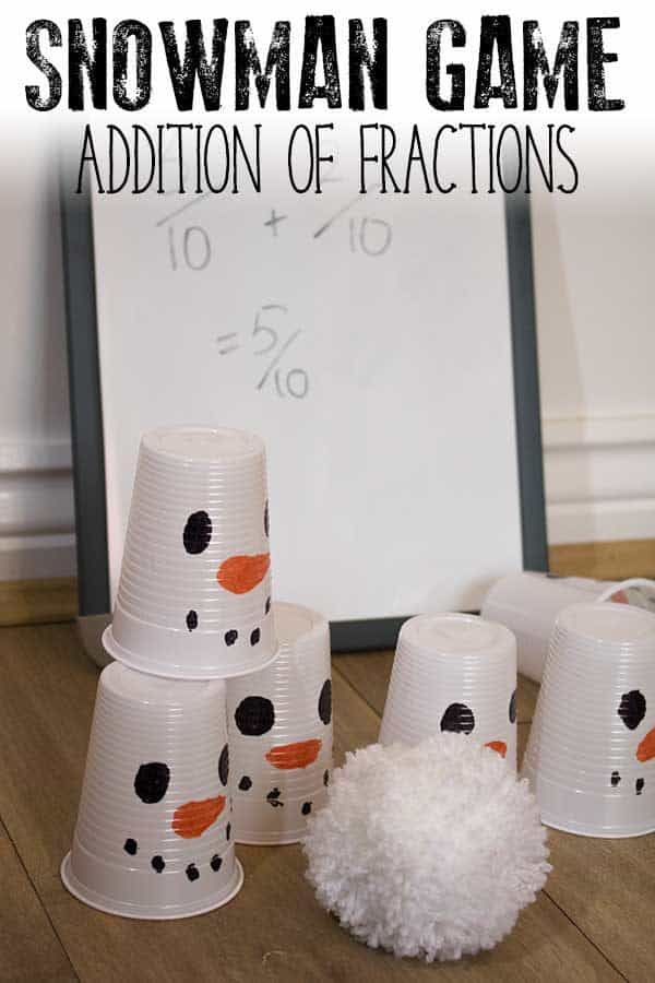 Addition of Fractions Snowman Maths Game