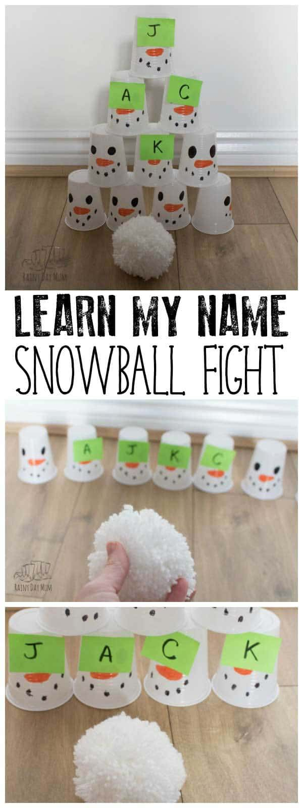 Fun indoor game for toddlers and preschoolers to work on learning to read, write and spell their names. Hit the snowmen and spell out their name, perfect to accompany The Snowy Day by Ezra Jack Keats.