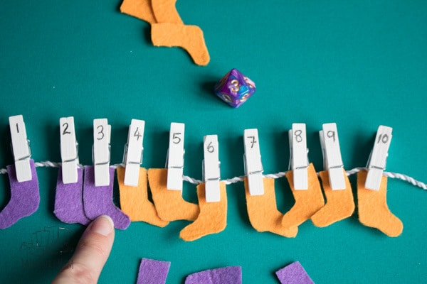 Simple to make maths centre activity inspired by the Dr Seuss book Fox in Socks. Create your own socks to work on number bonds to 10 by hanging them on the washing line. Full step-by-step instructions and extra ideas and resources included.