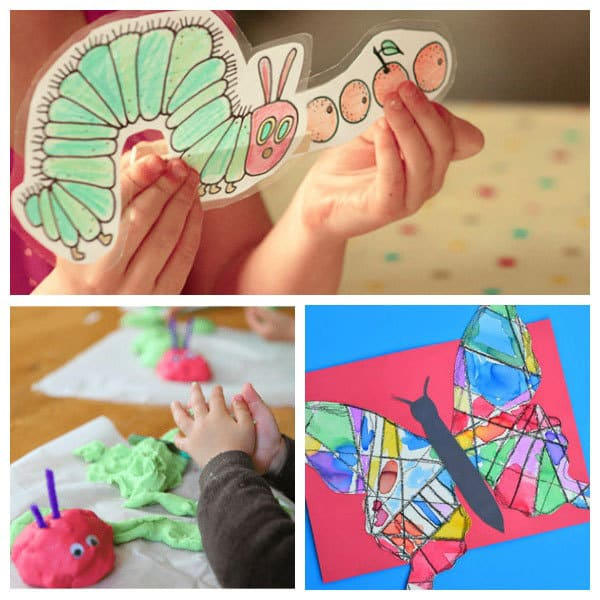 Fun crafts and activities for toddlers and preschoolers based on the classic Eric Carle book The Very Hungry Caterpillar. Including simple learning activities, and sensory play.
