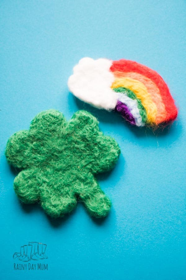 needle felted shamrock and rainbow