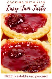 pinterest image for Easy Jam Tarts recipe to cook with kids