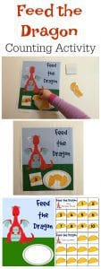 Simple math games for toddlers and preschoolers inspired by the fantastic children's storybook Dragons Love Tacos. Working on 1 to 1 correspondence feed the dragon the correct number of Tacos. Includes free printable.