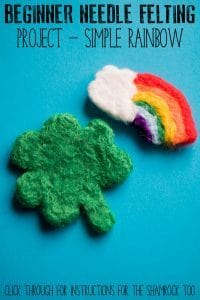 Step-by-step guide to creating a simple needle felted rainbow ideal as a beginner project and perfect for some spring or St Patrick's Day inspired crafting.