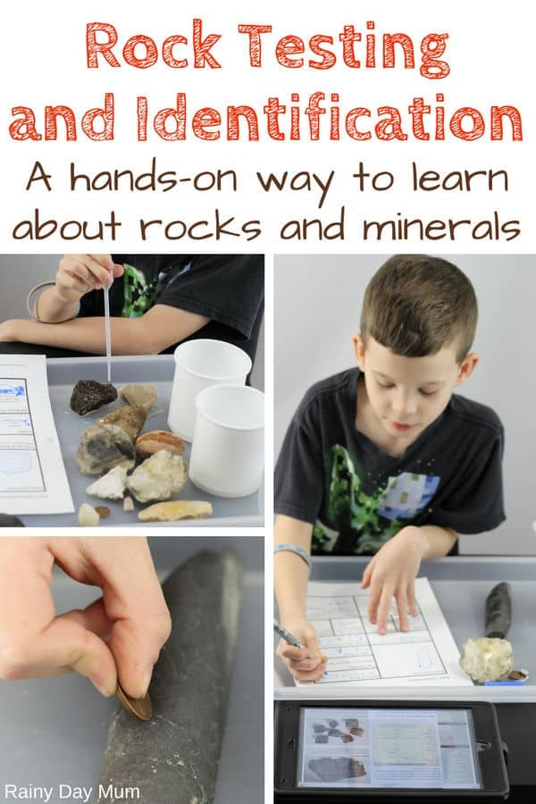 collage of a child testing different rock types