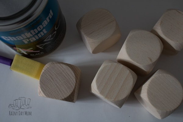 DIY instructions on creating chalkboard dice perfect for a reusable mathematics or literacy resource or for when the dice go missing from your favourite board games.