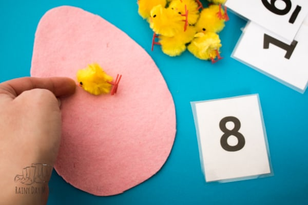 Quick and easy to create Easter or spring themed mathematics game for toddlers and preschoolers. Start with counting with 1 to 1 correspondence and then develop the activity for addition and subtraction.