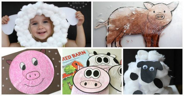 collage of different simple farm animal crafts for toddlers and preschoolers