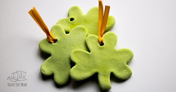 3 green salt dough shamrocks for St Patrick's Day