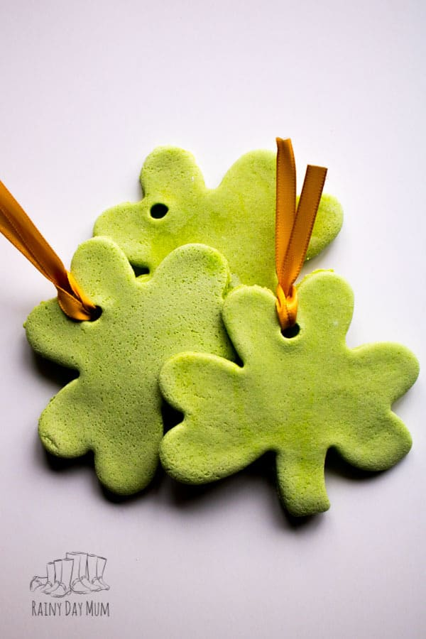 salt dough shamrocks to make for St Patrick's Day with Toddlers and Preschoolers