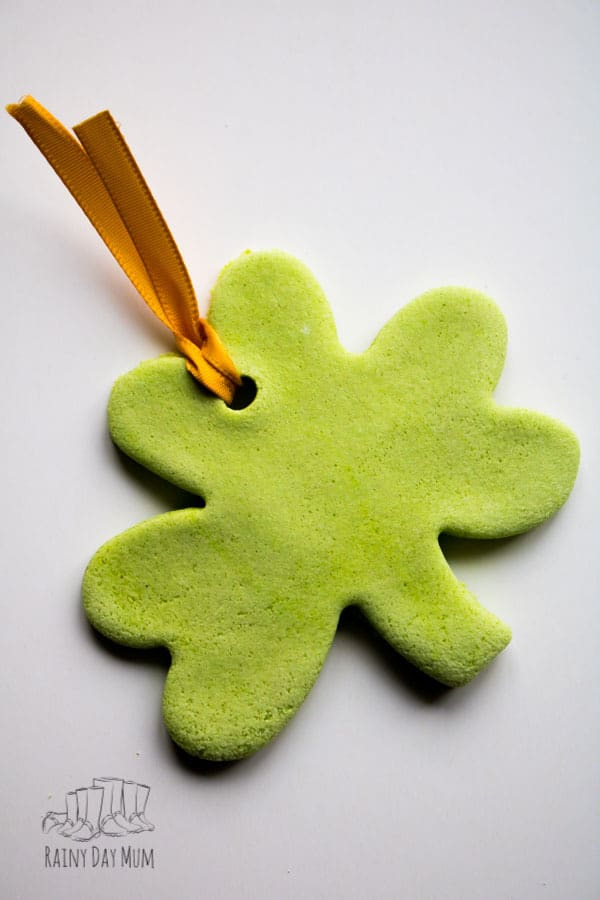 salt dough shamrock coloured with food colouring