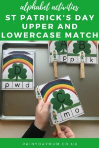 alphabet activities a simple St Patrick's Day Upper and Lowercase letter matching game