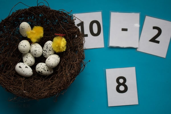 Quick and easy to set up maths activity for EYFS and review of single-digit addition and subtraction for older with this spring themed birds nest activity. Linked with Are you, my Mother? as a fun read-aloud for bird-themed activities.