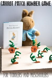 Count and pick the carrots out of the DIY maths game inspired by the classic The Tale of Peter Rabbit. Ideal for Toddles and Preschoolers this game works on early number work including counting, number recognition, one more, addition and number bonds.