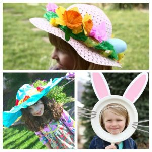 collage of a variety of different easy Easter bonnets for kids to make for Easter