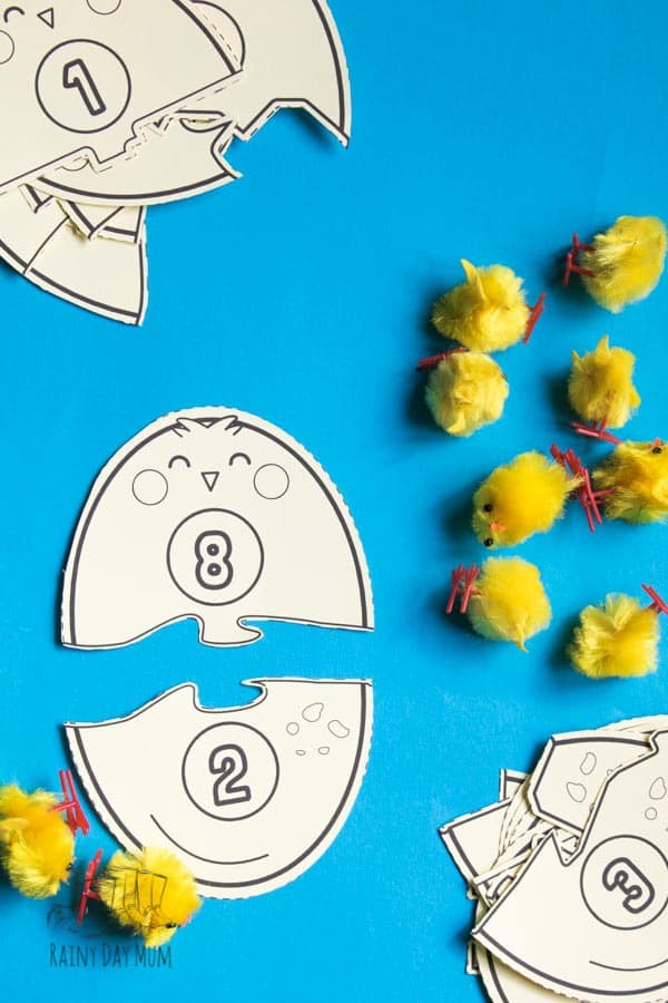 egg and chick number bond puzzle pieces to print with easter chicks