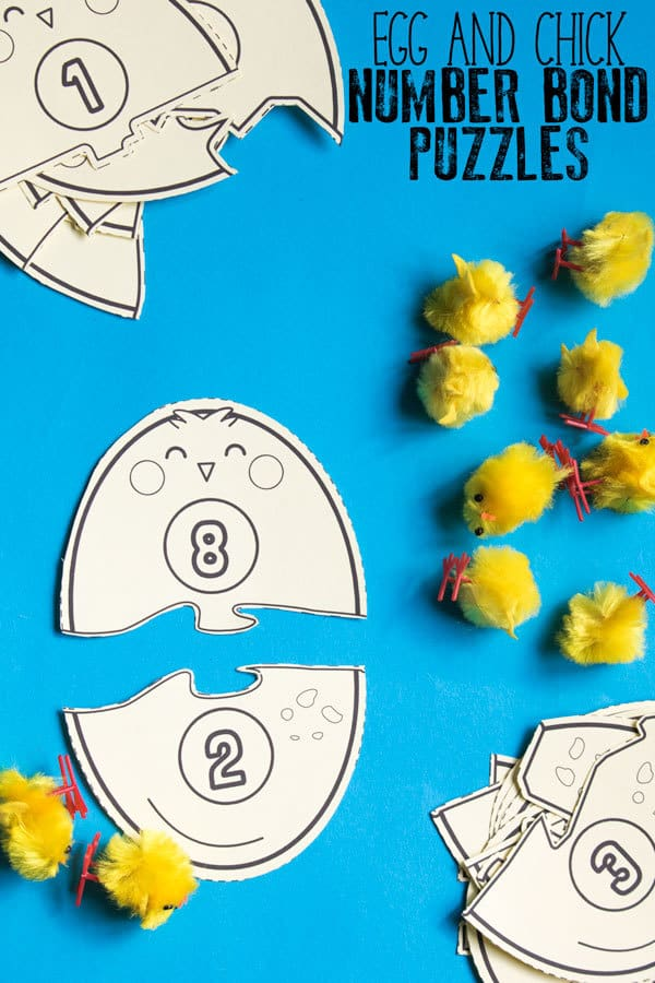 Hands-on spring activity for learning number bonds to 10. Download and print out these egg and chick hatching puzzle cards and learn, review and revise number bonds with this fun activity for maths.