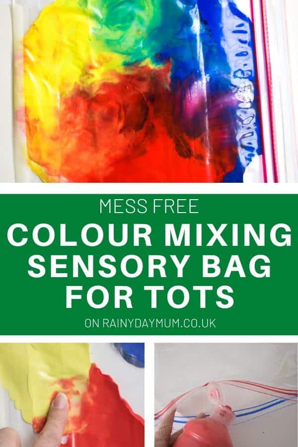 rainbow colour mixing sensory bag for kids