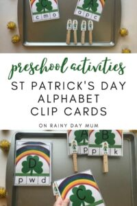 preschool activities St Patricks day alphabet clip card set
