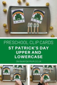 preschool clip cards for St Patrick's Day with Upper and Lowercase Letters