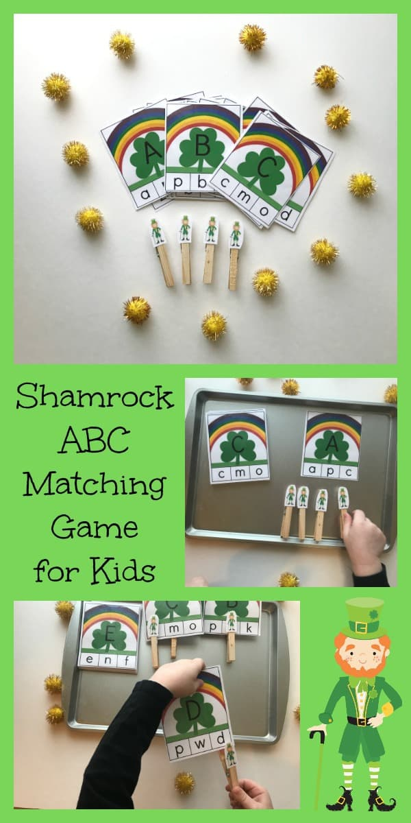 Match the upper and lowercase letters in this St Patrick's Day themed Clip Card activity ideal for preschoolers. Download and print the cards and set up a quick activity center for letter learning.