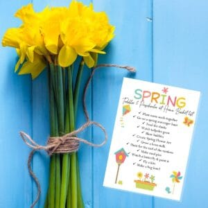 FREE Printable ideas and activities for a simple spring bucket list for toddlers and preschoolers to do at home