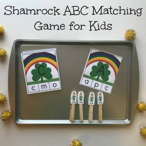 St Parick's Day Upper and Lowercase letter Matching Game for Preschoolers