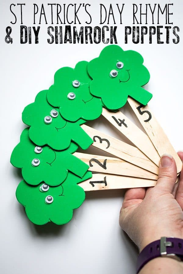 St Patrick's Day Rhyme and Shamrock Puppets