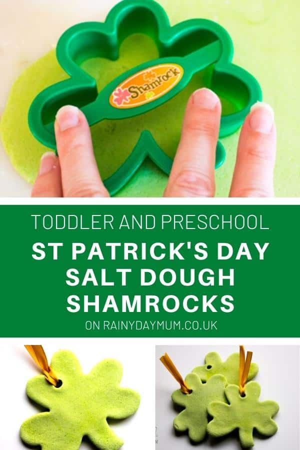 Toddler and preschool St Patrick's Day Salt Dough Shamrocks
