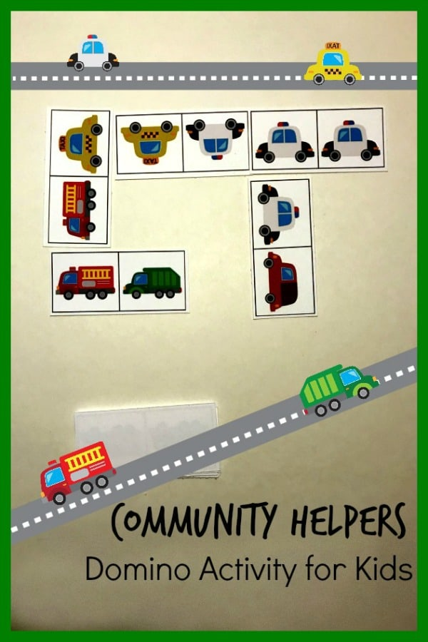 Community Helpers Domino Activity for Kids based on Trashy Town