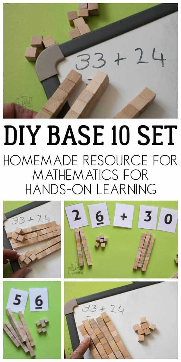 pinterest image for base 10 craft to make your own set for addition, subtraction and place value work