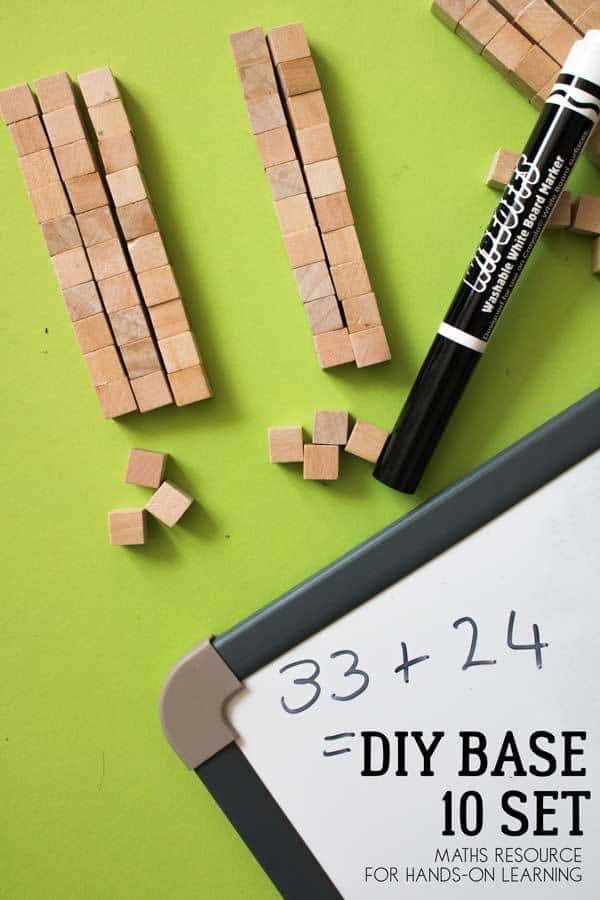 Pinterest image for the instructions on creating your own Base 10 set for maths using wooden blocks.