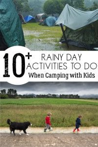 Easy and simple ideas to do with kids when it starts to rain whilst you are camping. These 10+ rainy day activities will keep the kids entertained and happy on the campsite whilst you wait for the sun to come out again.