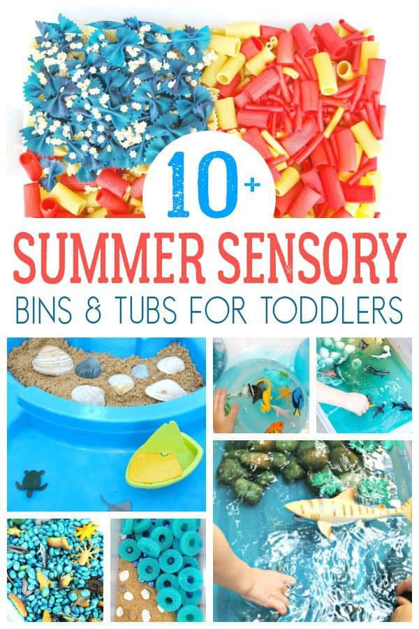 Under the Sea and Beach themed sensory boxes for toddlers
