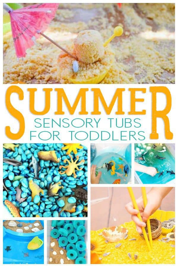 The best summer themed sensory bins and tubs for toddlers. Ideal for setting up and exploring these classic themes and under the sea with sensory play.