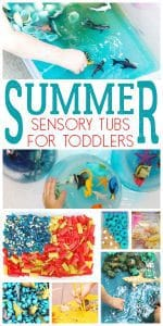 Simple Sensory Tubs and Bins for Toddlers to play with this summer.