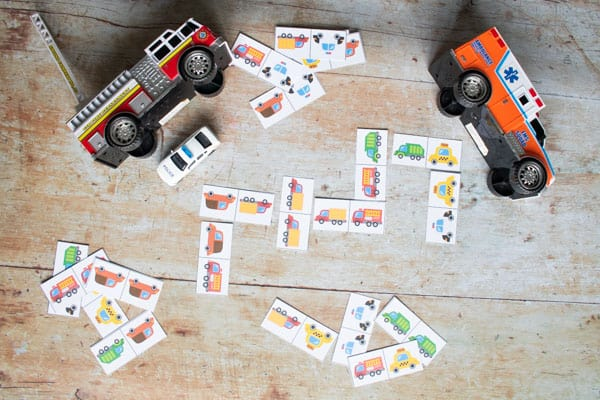 print and play key workers cars and trucks domino game