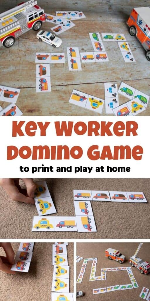 key workers print and play domino game