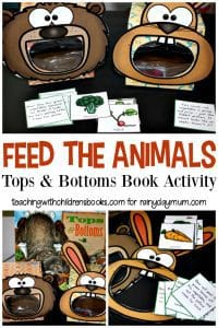 Feed the animals sorting activity based on the book Tops and Bottoms for kids.