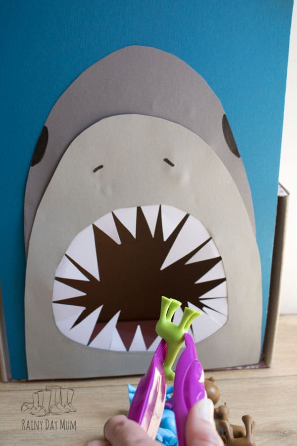 DIY maths activity for shark themed counting and fine motor skills