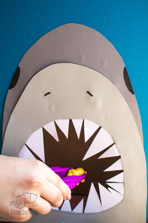 Simple DIY Shark Game for toddlers and preschoolers to work on counting and number skills