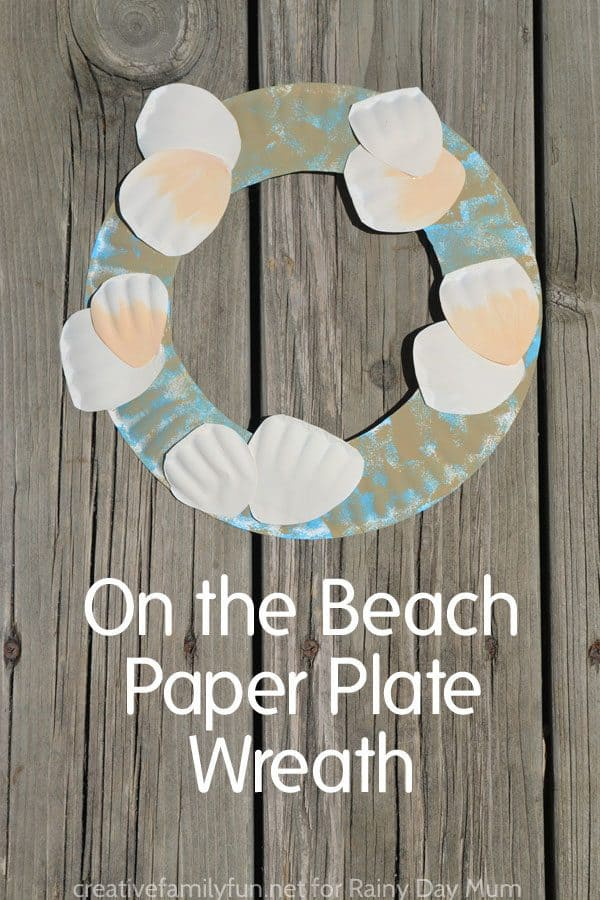 Beach Themed Paper Plate Wreath for Kids to Make