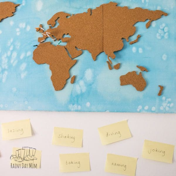 world map made from a cork board and large canvas